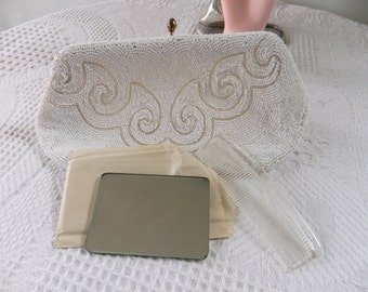 Vintage Beaded Clutch Purse White Wedding Evening Bag with Accessories Walborg Belgium Designer Prom Formal