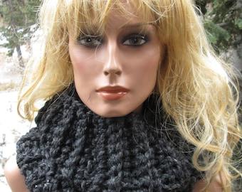 Cowl Scottish highlander Inspired Dark Gray Moebus Infinity Thick Wool Blend