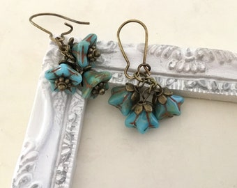 Blue flower earrings brass flower earrings bell flower earrings