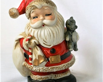 Vintage Santa Claus Bank w/ Teddy Bear by HomCo / #5407