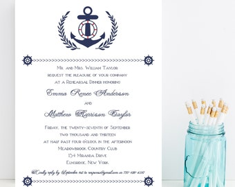 10 Anchor Rehearsal Dinner Invitations - Nautical, Anchor Rehearsal Invitation