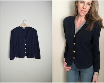 Vintage St. John Basics Navy Blue Knit Cardigan Cropped Jacket blazer -- medium