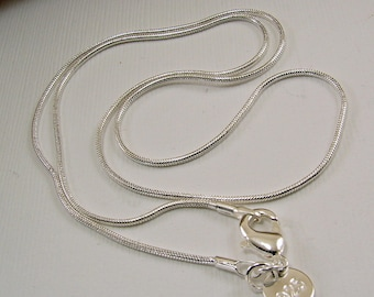 16, 18, 20, 22, 24, 28, and 30 inch Sterling Silver Snake Chain Necklace