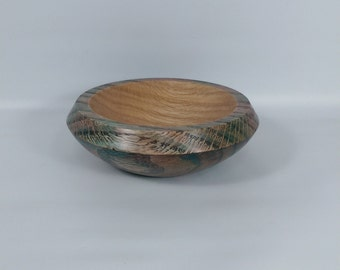 Spinning Bowl made from Oak. Hand turned. Stained bowl.