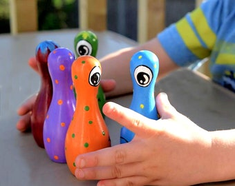 "5 Pin Tabletop Wood Game -  4"" Monster Toy Bowling Pin and Ball - Monster Toy Wooden Bowling Game - Monster Toy Tabletop Wooden Bowling Game"