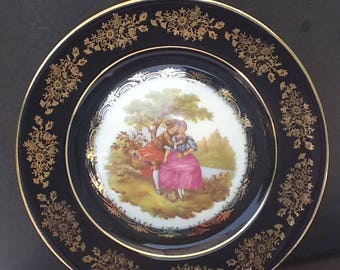CASTEL Limoges Decorative Plate~Made in France~22 kt Gold Accents~Cabinet Plate~Fragonard Lovers~Artist Signed~Highly Collectable~Pristine~