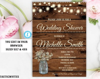 Rustic Wedding Shower Invitation, Rustic Invitation, Country invitation, Editable Template, Wedding Shower Invitation, Template, YOU EDIT