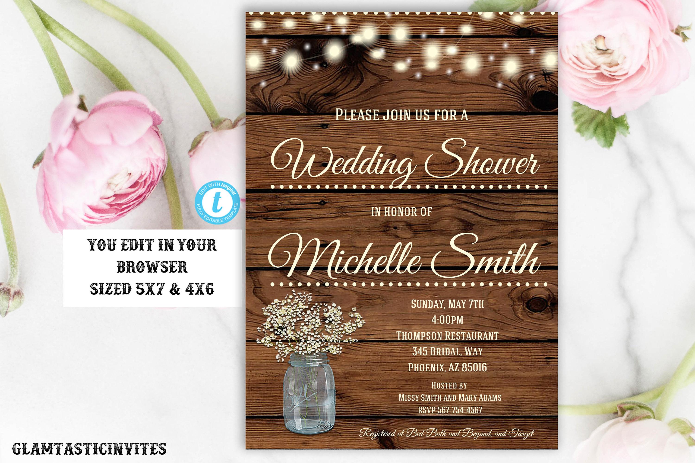 Rustic Wedding Shower Invitation, Rustic Invitation, Country ...