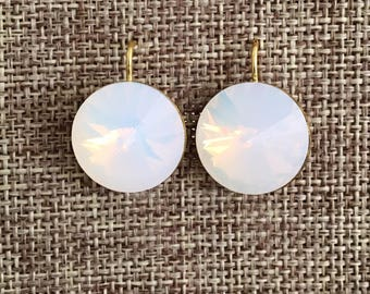 Our Best Selling Earrings – Large Swarovski Opal Crystal Earrings Bridesmaid in Silver or Gold with Round Swarovski Crystal Dangles