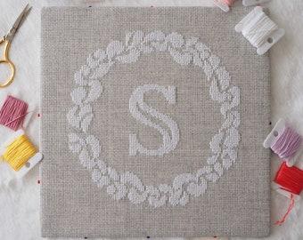 Grace Wreath Monogram (S) Cross Stitch PDF Pattern Digital Download