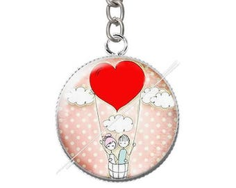 Cabochon resin couple love heart keychain