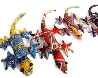 Vintage Lizards Stuffed (4) Bright Fabric 1980s