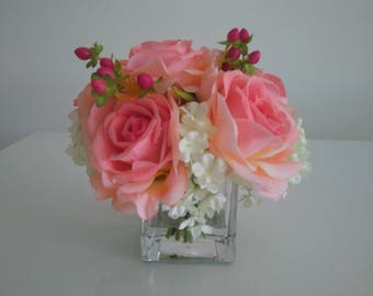 Faux Silk Flowers in Glass Vase - Artificial Floral Arrangement - Artificial Flowers Centrepiece - Gift for Her-Home Decor - Pink Decor