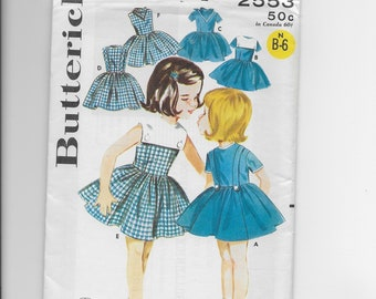 Vintage Butterick Pattern 2553, Little Girls Dress*Size 2*1960's Pattern*Uncut*FF*Contrasting Collar*Fitted Bodice*Cowboy Scarf*Full Skirt