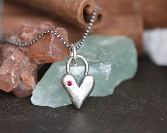 Beautiful Sterling Silver Heart with little hand set Gemstone Necklace hand cast Exclusive design