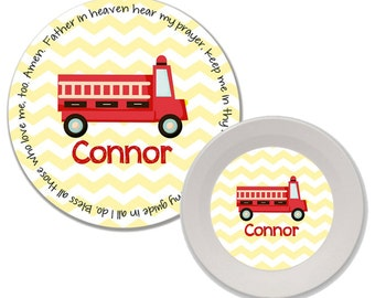 Personalized Melamine Plate and Bowl Set - Mealtime Set - Melamine Dinnerware Set - Childs Dinnerware - Kids Plate and Bowl Set - Fire Truck