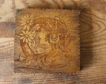 Antique Wooden Hankie Box Pyrography Woman's Profile Flowers Vintage Handkerchief Dresser Storage Box