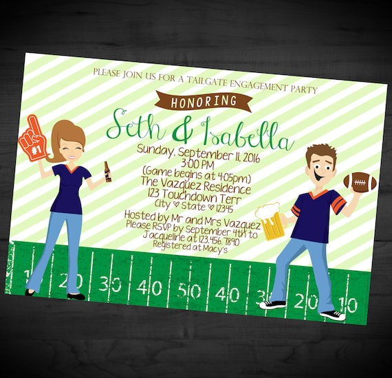 Football Themed Couples Shower Invitation