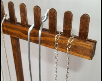 Wood Long Chain Necklace Display - Tall Necklace Hanger - Jewelry Organizer - Holder - Storage - Stained