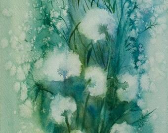 Dandelions - Original Watercolor Painting, Summer Flowers Watercolor Art 9 X 12 in