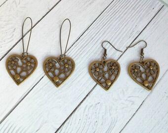Heart earrings dangle Bronze earrings with heart Drop earrings Large bronze earrings  Boho earrings  Bohemian earrings Metal earrings Gift