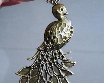 Statement pendant etsy peacock pendant statement pendant large pendants peacock charms necklace pendant brass tone peacock charm peacock connectors aloadofball Images