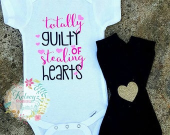 Valentines Onesie Totally Guilty of stealing Hearts