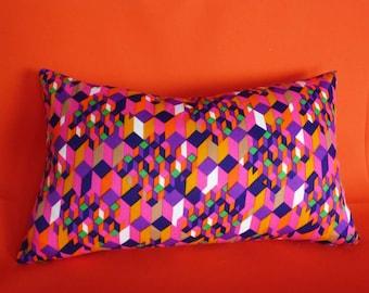 Colorful Retro Pillow Covers, Colorful Girl Pillow,  Pink Purple Orange, 16x16, 70s Pillow, Unique Pillows, Eclectic Pillows, Dorm Decor