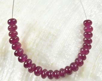 Red RUBY Madagascar 2.05 inch Strand Smooth Rondelle Gemstone Beads 6.1 ct
