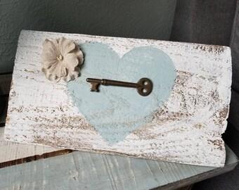 Heart and key Barn wood sign