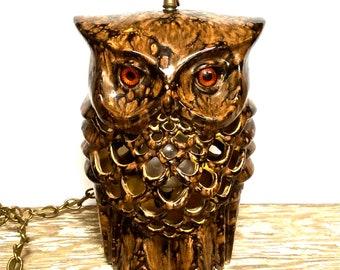 Swag Light Ceramic Owl 2-Sided, Mid Century Splatter Glaze, Retro lighting