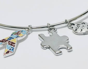 Autism awareness bangle, autism jewelry, puzzle ribbon, puzzle awareness ribbon, puzzle jewelry, puzzle piece charm, spectrum awareness
