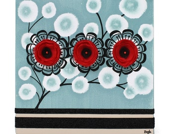 Small Painting on Canvas, Flower Wall Art, Original Painting in Blue Black and Red - 10x10