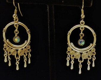 Silver earrings with opalescent charms
