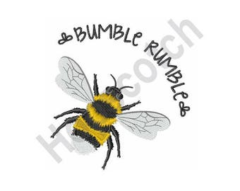 Bee - Machine Embroidery Design, Bumble Bee, Bumble Rumble