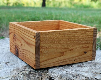"New Square Planters Box 10""L & 12""L (3.25"" - 3.75""H - Tall), Centerpiece, Wooden Box, Herb Box, Garden, Storage, Succulent"
