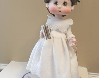 Handcrafted cold porcelain First Holy Communion Keepsake.