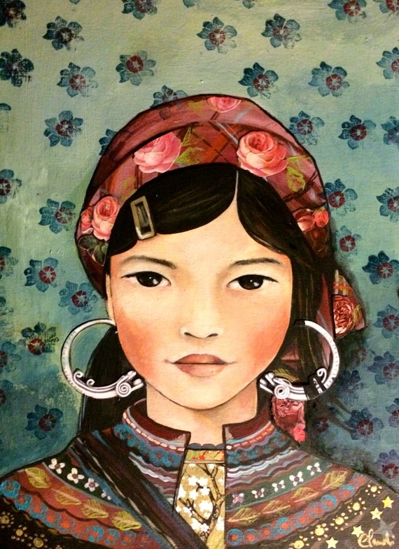 Young girl  from vietnam, Hmong people art print