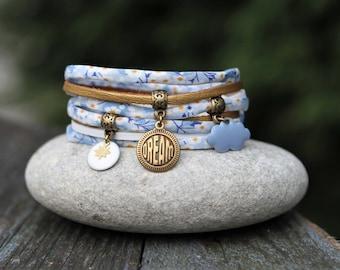 Floral bracelet bracelet blue white dream bracelet-cloud pastel cuff bracelet _ _