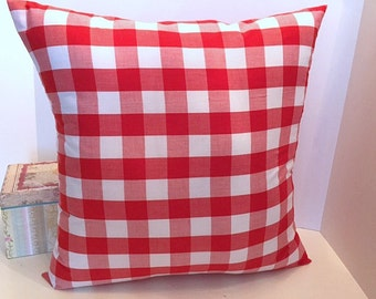 "18x18 1"" red and white check envelope style pillow cover."