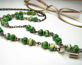 CLEARANCE Chain For Glasses, One Of A Kind, Green and Yellow Beads, On a Brass Chain, Eyeglass Chain, Eyeglasses Necklace, by Eyewearglamour