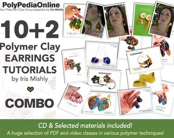 Polymer Clay Tutorial, Polymer Clay Jewelry, PDF Tutorial, Polymer Clay Beads, Earrings Tutorial, Jewelry Tutorial, Ceramic, Video, Fimo