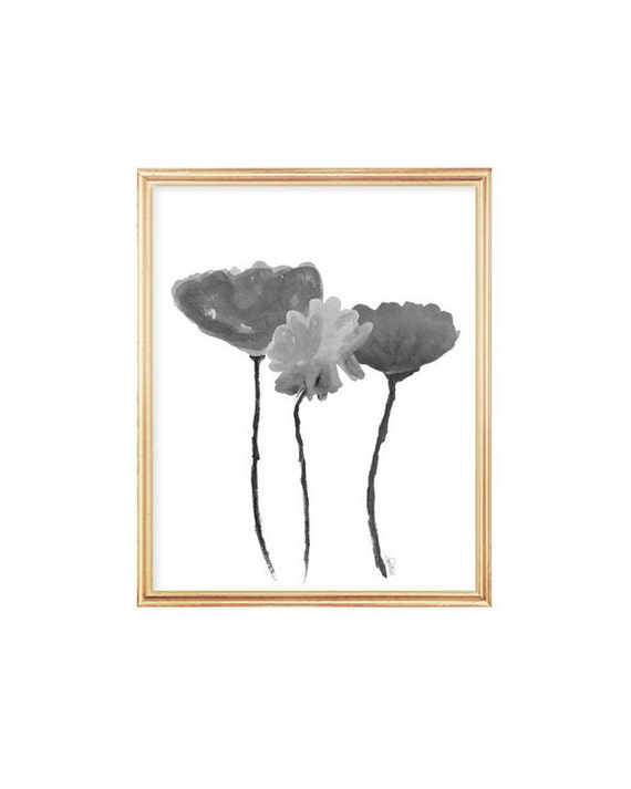 Contemporary Charcoal Gray Floral Art Print, 8x10