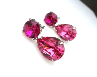 bridesmaid gift earrings christmas prom party bridal earrings Swarovski fuchsia pink round stud post rose pink teardrop crystal rhinestone