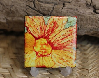 Orange Flower // Alcohol Ink Painted Ceramic Tile // Hand painted One of a Kind Abstract Art // Magnet Option