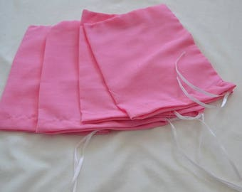 Plain Cotton Pink Drawstring Pouch, High Quality Bags. Great for Wedding Favors, Jewelry Bags, Gift Bags, and Stamping! Various Sizes