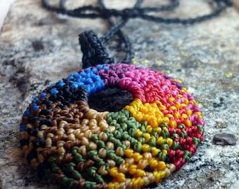 Necklace with macrame circle pendant rainbow colors