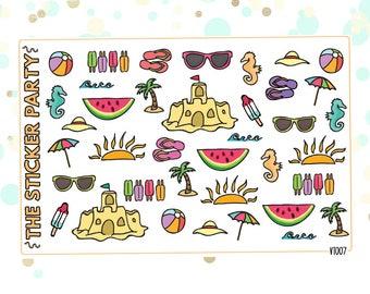Beach Day Deco Planner Stickers | ERIN CONDREN