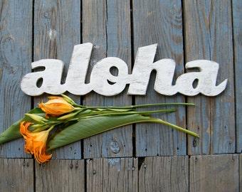 Aloha Sign Wooden Hawaiian Hello Greeting Hawaiian Decor Tropical Decor Outdoor Sign