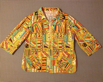 1960's, no close, three quarter, bell sleeve, collar, smock shirt, in psychedelic print, Women's size Medium/Large